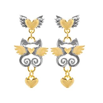 Kissing Seahorse Earrings by Sophie Harley London.   Chubby winged hearts with kissing seahorses & little heart drops in silver with gold plated detail.
