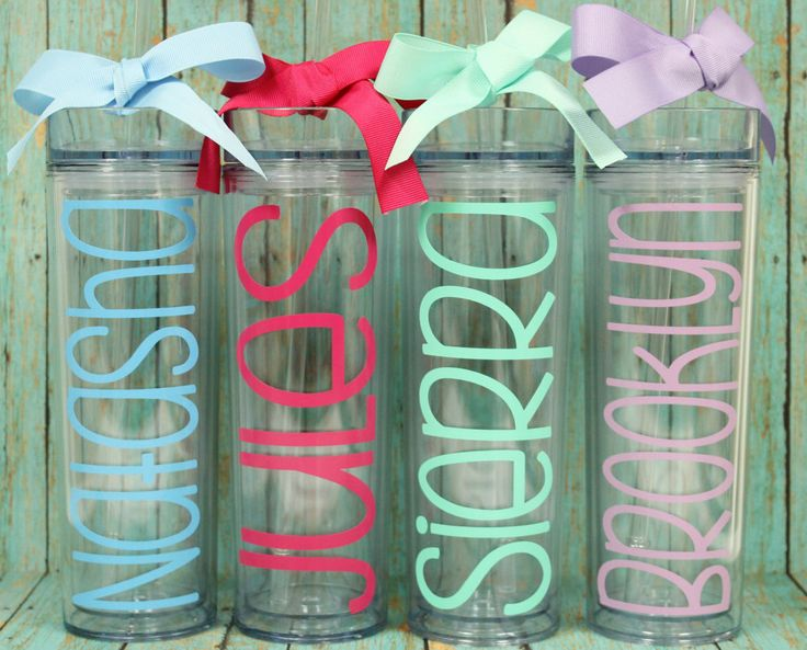 Personalized Tumbler - Bridesmaid Gift - Bachelorette Party Favor - Wedding Party Cups - Personalized Cups - Ribbon Included by BlossomsandPear on Etsy https://www.etsy.com/listing/249568589/personalized-tumbler-bridesmaid-gift