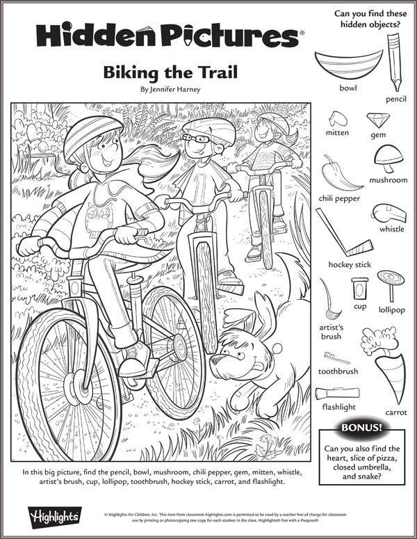 Biking the Trail Hidden Picture Puzzle
