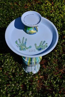 DIY Pour Painted Terra Cotta Pot Bird Bath in Blues & Greens -- makes a great gift that kids can help create!