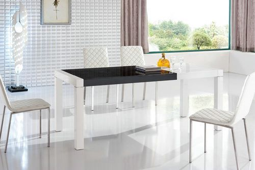 Black Glass Dining Table With White Chairs