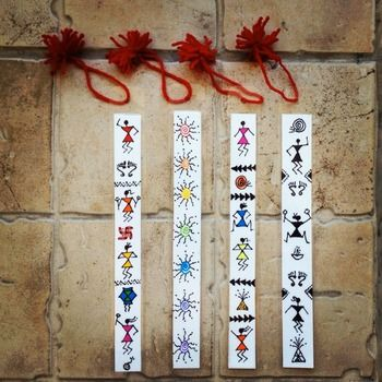 Colourful Handmade Hand Painted Warli bookmarks (big) set of 4