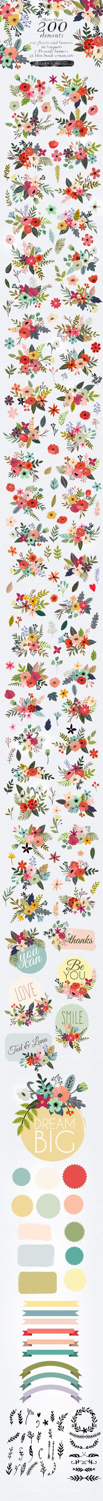 Petite Fleur Designers Toolkit https://creativemarket.com/MiaCharro/475901-Petite-Fleur-Designers-Toolkit?u=MeeraG | #graphic #illustration #clipart #vector #flowers #ornaments #png #wedding #card #logo #vintage #vintageflowers #deal #bundle #banner #garden #floral #design #elements #botanical #popular