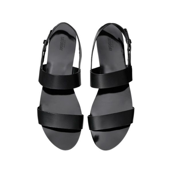 Flat Sandals ❤ liked on Polyvore featuring shoes, sandals, flats, black, black flat sandals, black sandals, flats sandals, flat pumps and flat footwear
