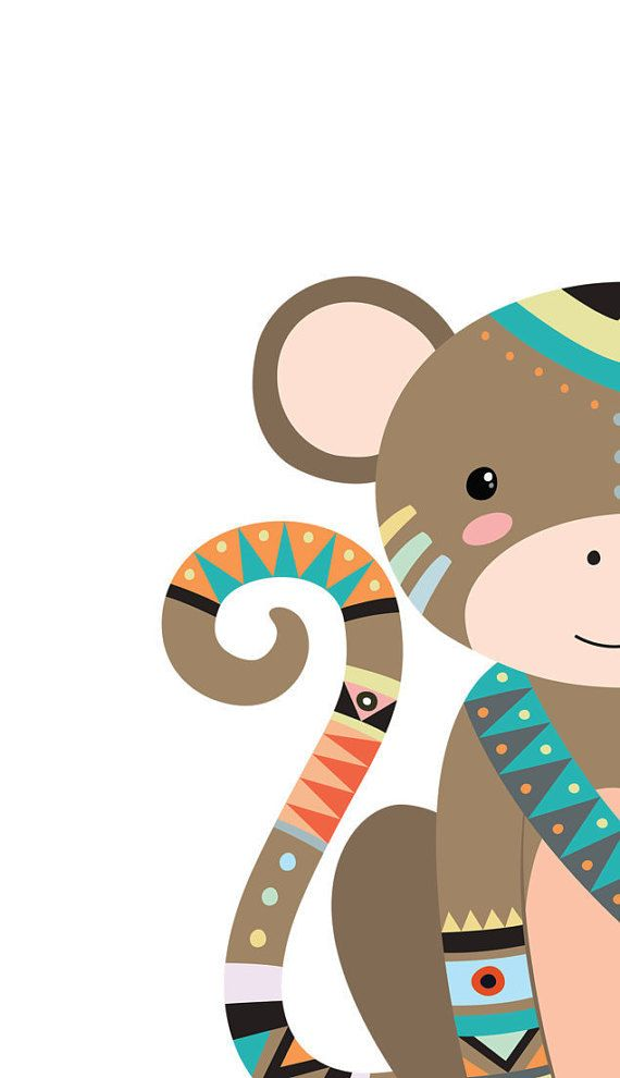 Monkey nursery art Baby monkey print Jungle by WordsAndConfetti