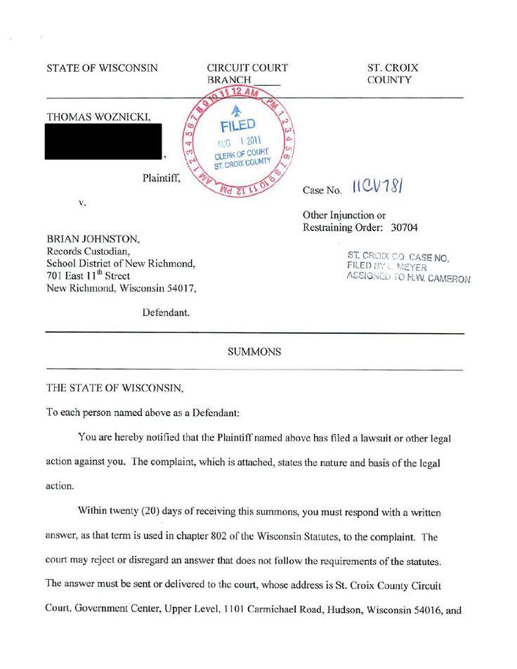Thomas Woznicki vs Brian Johnston (New Richmond, Wisconsin) School - civil summons form