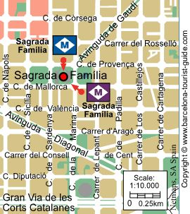 Location of Sagrada Familia to the nearest metro stop. Click for a magnified view of this map