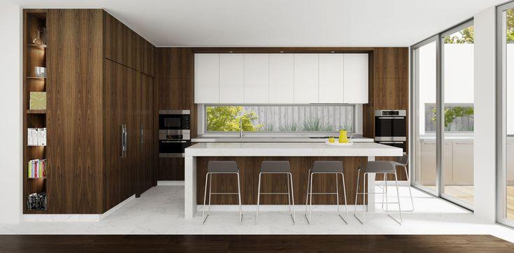 Sleek kitchen featuring American Walnut doors