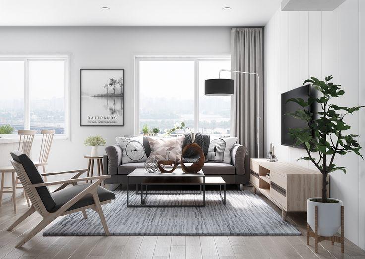 Scandinavian living room white grey colors
