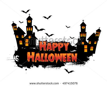 Happy Halloween Poster, night background with creepy castle and pumpkins, illustration
