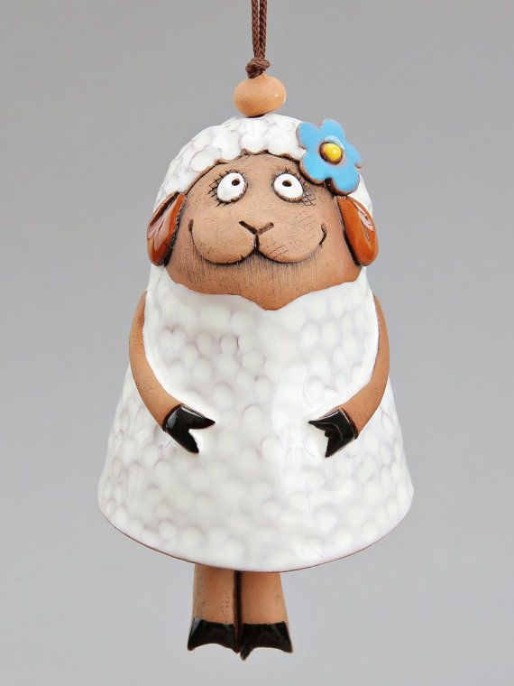Ceramic Sheep Bell The White Sheep with Blue Flower by Molinukas