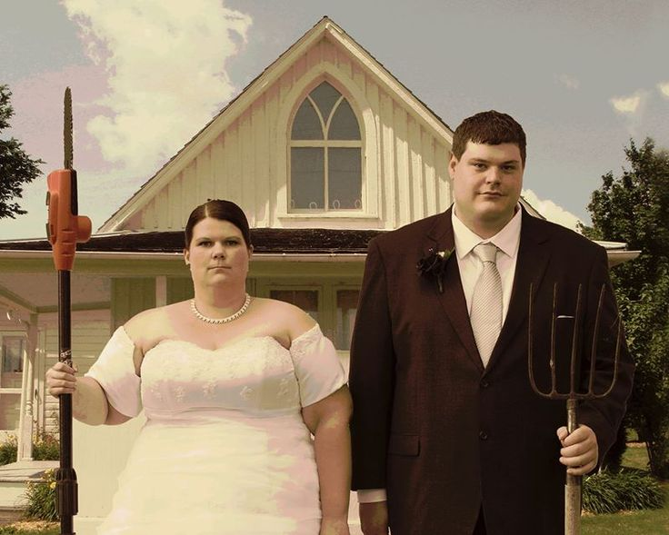 American Gothic, wedding photography, bride and groom,