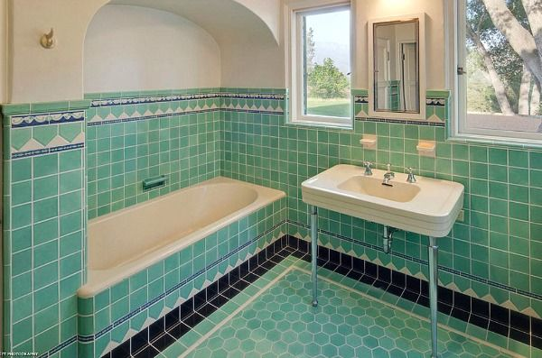 Green, black, white tiled bathroom in - Classic 1920s California Spanish Revival - La Collina Rancho, Ojai CA