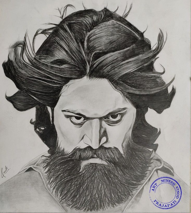 Kgf Yash Drawing In 2020 Pencil Sketch Images Joker Art Drawing Boho Art Drawings