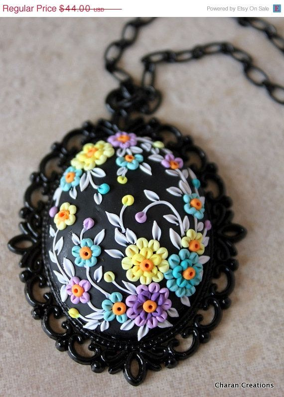 CHRISTMAS in July SALE Lovely Polymer Clay Floral Applique Pendant Necklace