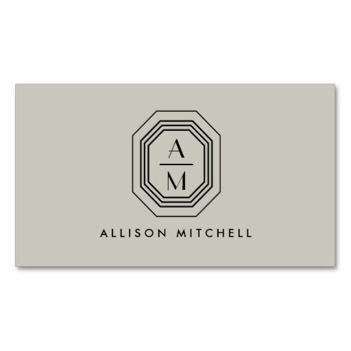 Taupe/Black Art Deco Monogram Interior Design Business Card Template - personalize the front and back with your own initials and info. Easy to customize and order!