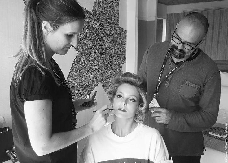 The beautiful model Enikő Mihalik getting her make-up done #behindthescene #backstage