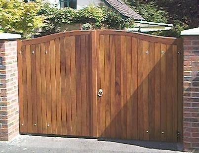 Wooden Gates - Chilton gates in Iroko.  www.crockettsgates.co.uk