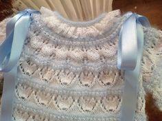 EXPLICACIONES - En lana, perlé y angora para bebé: Tutorial chaquetita bebé. Talla 0-3 meses. Angora azul y perlé blanco