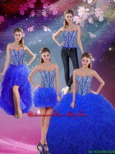 Moda rebordeó y Ruffles Royal Blue desmontable Quinceanera Vestidos