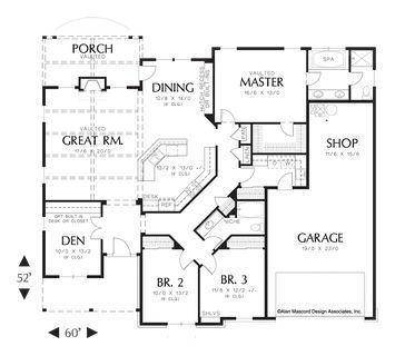 One-Story Plan with 2 Car Garage. Plan 1231A The Blackburn is a 2013 SqFt Craftsman, Farmhouse, Ranch style home plan featuring Den, Shop, and Walk-In Pantry by Alan Mascord Design Associates. View our entire house plan collection on Houseplans.co.