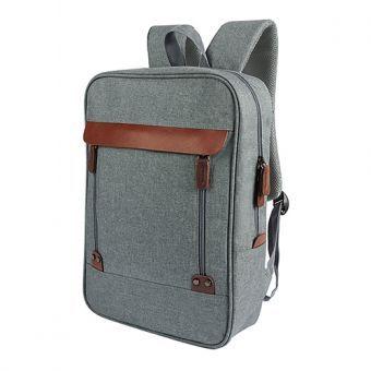 Mochila Backpack Hais Gris. Espacio para Laptop. Preppy Hipster Style. Unisex