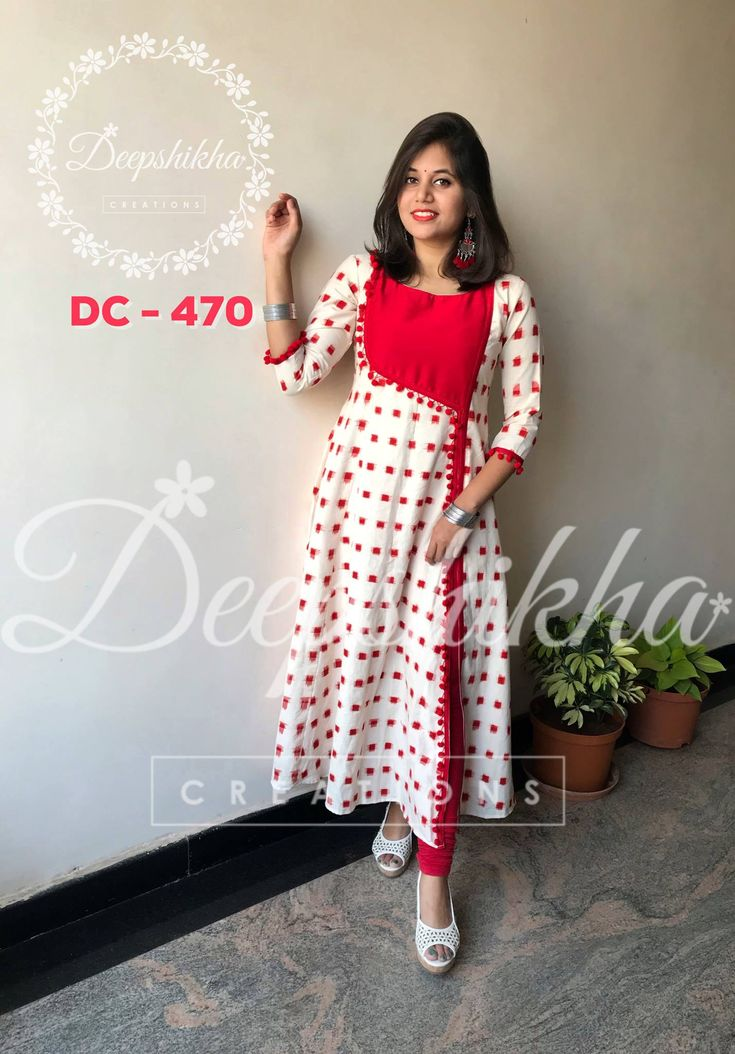 DC 470. Beautiful red and white color combination knee length anarkali dress. For queries kindly WhatsApp : +91 9059683293  15 January 2018