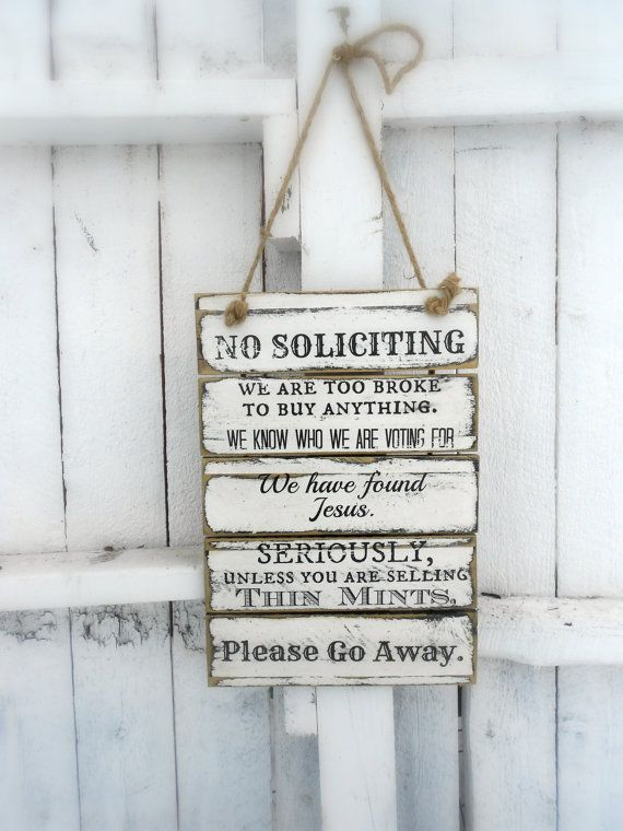 I want this for my front door!! NO SOLICITING Pallet Wood Sign 12 X 18 by JezebelTreasures on Etsy, $32.99