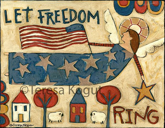 Americana  USA  Wall Art Wall decor  Let Freedom Ring