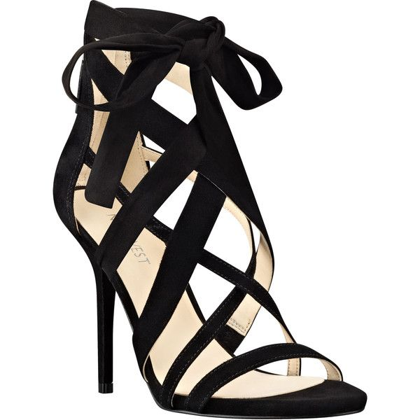 Rustic Strappy Sandals (£72) ❤ liked on Polyvore featuring shoes, sandals, heels, braided strap sandals, nine west shoes, nine west sandals, woven sandals and bow shoes