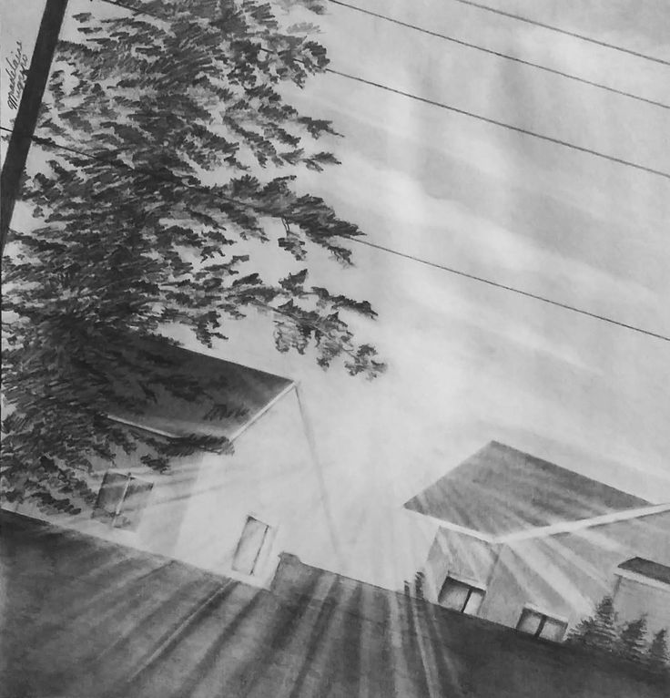 This picture was drawn based on the reference photo that was taken on the way to school. The sun rise appears between the houses. (Created using a single 2H pencil)