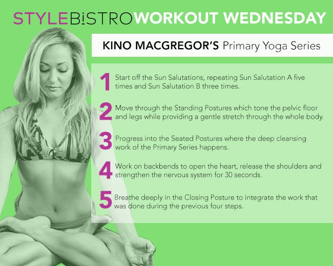 "Kino MacGregor Workout ..Go-to exercise: Ashtanga Yoga Primary Series (about 10 minutes) ""I practice four out of the six series of the Ashtanga Yoga method, but I find this one to be the most basic and healing. That's why I did a series on this method for Grokker. I wanted to make this simple kind of healing available to the masses."""