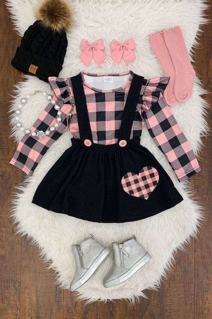 Pink Buffalo Plaid Heart Suspender Skirt Set