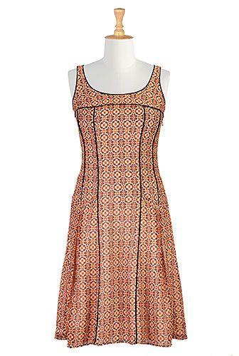 Tipped trim chiffon print dress