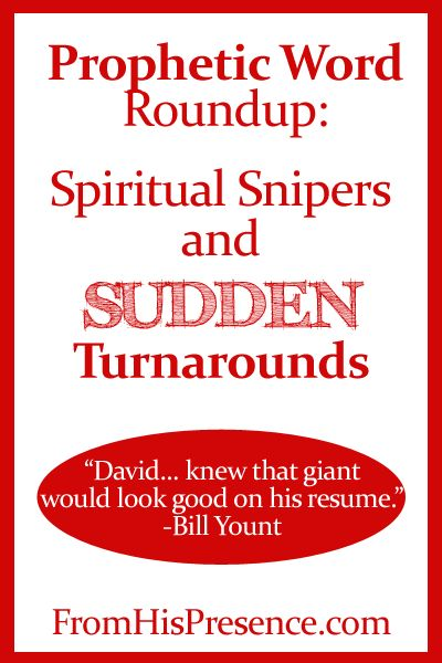 Prophetic Word Roundup: Awesome encouraging words from Doug Addison and Bill Yount about spiritual snipers and seeing sudden turnarounds in your life. READ THIS!