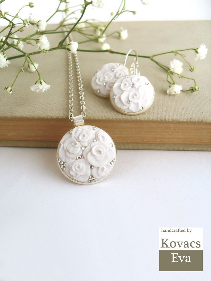 Vintage style bride and bridesmaid jewelry.Handmade,white, 3D flowers porcelain pendant.