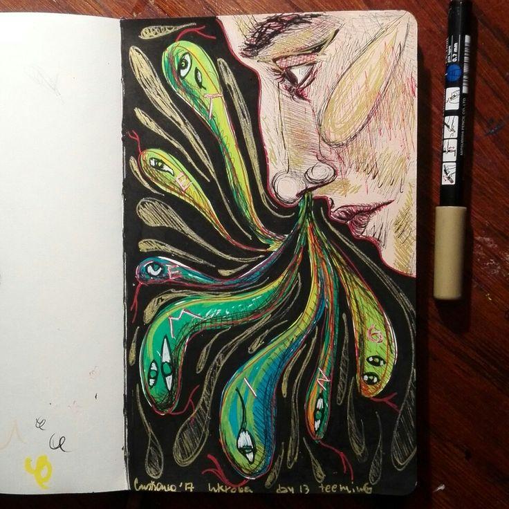 Selfportrait illustration, illustrazione by @distrofiamuscolare in IG     #art #illustrazione #illustration #draw #drawing #moleskine #surrealism #cubism #markers #watercolor #portrait #painting #illustrator #myart #disfrofiamuscolare