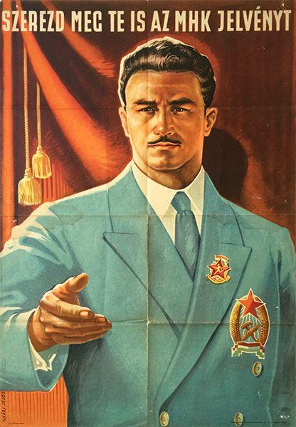 MHK badge Nyari Janos communist propaganda poster Hungarian 1952