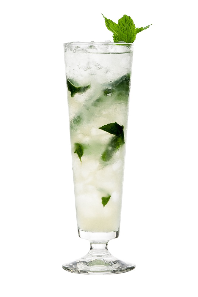 MOJITO : INGREDIENTS -   12 Mint leaves 2 measures Light white rum 3/4 measure Lime juice  1/4 measure Sugar syrup (sugar 2:1 water) Topup with Soda water  Garnish Mint sprig   INSTRUCTIONS - 1 In the glass lightly muddle the mint just enough to bruise it. 2 Next add the sugar, lime juice, rum and half fill the glass with crushed ice. 3 Stir, then fill with more ice and stir again. 4 Finally top with soda water, stir. HOW TO SERVE IT -   Serve in a Collins glass  Garnish with a sprig of mint