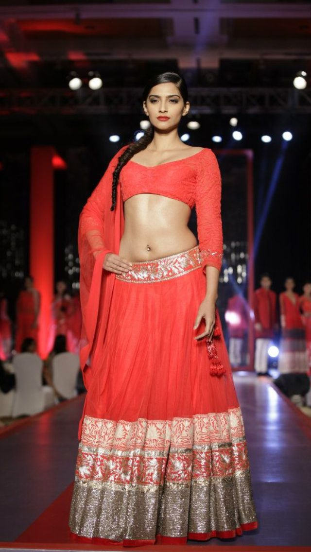 Sonam in red Manish Malhotra.