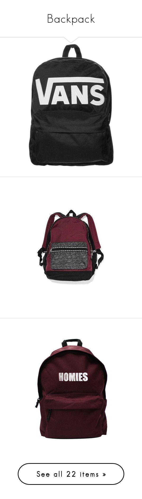 """Backpack"" by saraxx113 on Polyvore featuring bags, backpacks, accessories, vans, black, day pack rucksack, patterned backpacks, white rucksack, vans rucksack and rucksack bag"