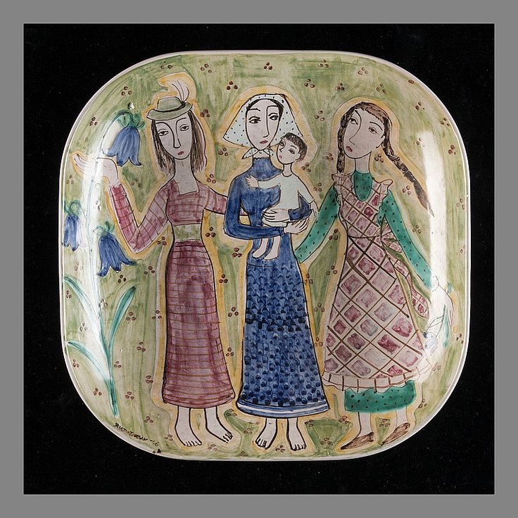 RUT BRYK (FINLAND), CERAMIC DISH. In  long dresses. Signed Rut Bryk -46. Arabia.