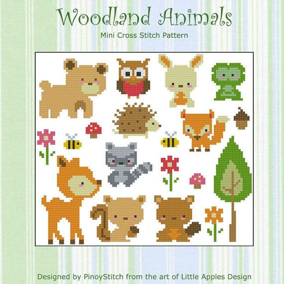 Woodland Animals Collection Cross Stitch Pdf Chart Punto