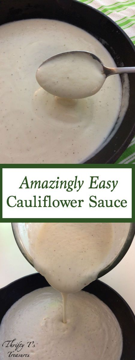 I've fallen in love with this amazingly easy cauliflower sauce and I know you're going to love it too. It's super simple to make and there are tons of recipes you can use it in. My favorite way to enjoy it is in lieu of cream of chicken soup or over pasta as a healthy and creamy alfredo sauce. It's also perfect with rice in a casserole or even as the sauce on a pizza. (As you can see there are a ton of uses.) This sauce is dairy free and has no cheese...unless you want to add some parmesan…