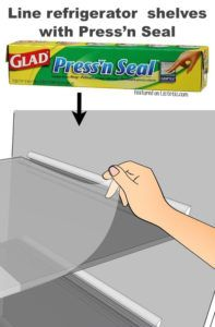 #5. Use Pressn' Seal to line shelves that tend to get messy in your fridge (in the door, too!).  11 Brilliant Fridge Organization Ideas