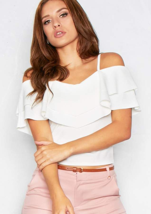 af7722002ef82 Missyempire Shelby Cream Frill Cold Shoulder Top ~ Basic But Bad A**. This