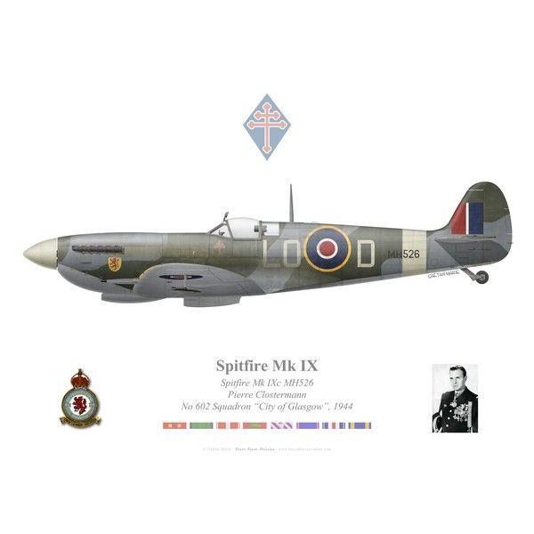 """Spitfire Mk IXc, Pierre Clostermann, No 602 Squadron """"City of Glasgow"""", Royal Air Force, 1944. Avec 33 victoires aériennes, Clostermann est l'as des as français de la Seconde Guerre mondiale. Ses mémoires de guerre Le Grand Cirque furent un grand succès littéraire. Après la guerre, il mena une carrière d'ingénieur, mais s'investit également en politique."""