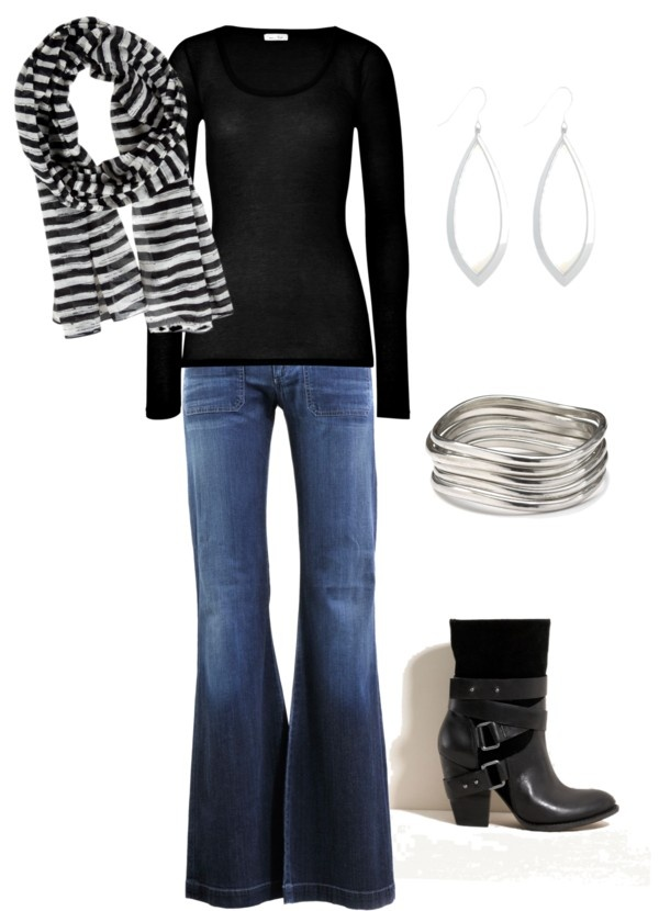 """""""Everyday Wear"""" by burrowbrat on Polyvore but with a different scarf, I don't like stripes."""