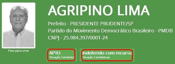O candidato a prefeito da cidade de Presidente Prudente, Agripino Lima/PMDB…