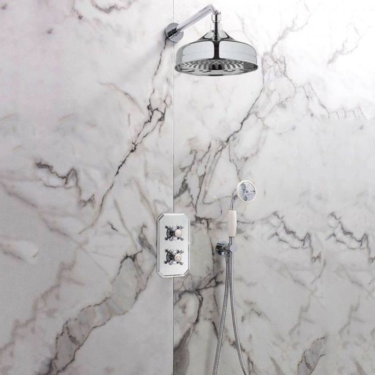 Crosswater Belgravia Concealed Thermostatic 2 Outlet Shower Valve with Fixed Shower Head and Shower Handset
